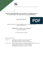 Emmanuel Thomé, Théorie algorithmique des nombres et applications à la cryptanalyse