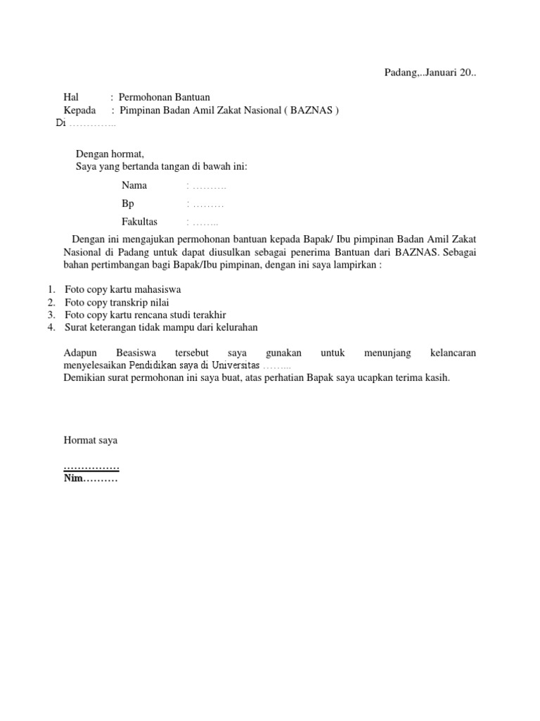 Cara Memuat Surat Contoh Surat Permohonan Bantuan Dana Pendidikan Ke Baznas
