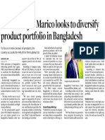 The Hindu Business Line FMCG Major Marico Looks to Diversify Product Portfolio in Bangladesh 9 June 2017