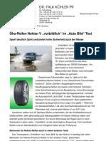 """Öko-Reifen Nokian V """"vorbildlich"""" im """"Auto Bild"""" Test - Spart deutlich Sprit und bietet hohe Sicherheit auch bei Nässe"""