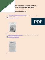 Periódicos y revistas de Extremadura en la Biblioteca Virtual de Prensa Histórica