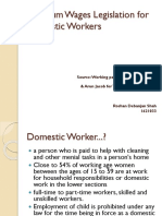 Minimum Wages Legislation for Domestic Workers