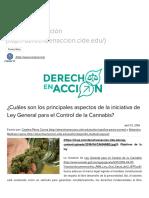 Principales Aspectos de La Iniciativa de Ley General Para El Control de La Cannabis