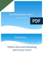 Speaking Paper, Part 1