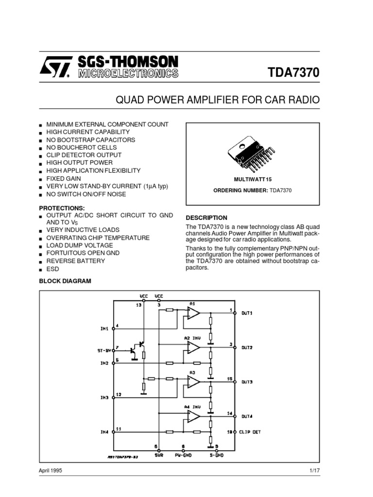 Data Sheet Amplifier Loudspeaker Protection And Muting