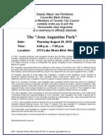- Jean Augustine Park Dedication