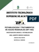 POTABILIZACION Y TRATAMIENTOS DE AGUAS RESIDUALES