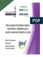 Apresentação Micro-geração Fotovoltaica Ligada a Rede Elétrica Viabilidade-para o Usuário e Possíveis Impactos Na Rede