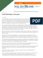 Jornal do Brasil - Leonardo Boff - Sustentabilidade e educação