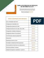 Tabela de Servicos Em Informatica Mega Criacoes