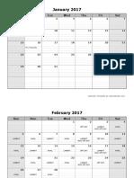 2017 Monthly Calendar Landscape 08