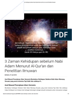 3 Zaman Kehidupan Sebelum Nabi Adam Menurut Al-Qur'an Dan Penelitian Ilmuwan