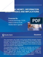 Electionic Money Information Secuity Risks and Implications Mr. Francis Karuhanga