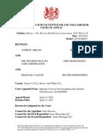 Abbass v. the Western Health Care Corporation, 2017 NLCA 24