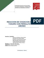 Grupo 1. Informe 2. Reaccion de Oxidacion Del Ion Yoduro Con Persulfato de Amonio