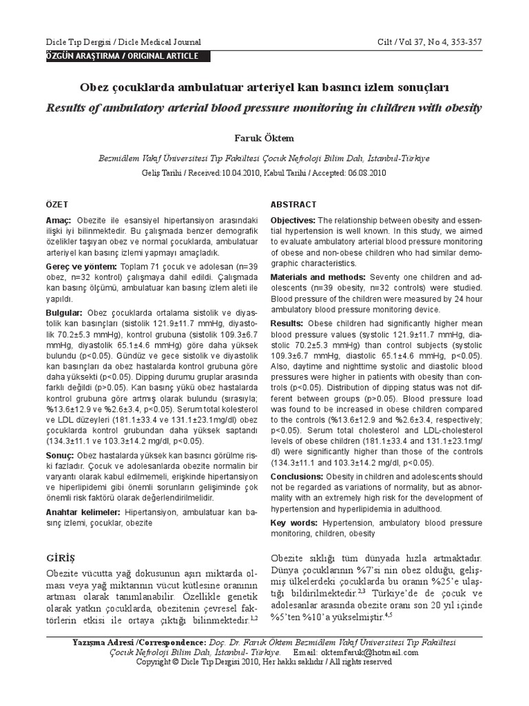 Genç hastalıklar: çocuklarda arteriyel basınç