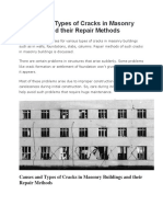 Causes and Types of Cracks in Masonry Buildings and Their Repair Methods