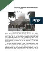 Hadrat Syed Mohammed Shah Hashim Hussaini Saheb