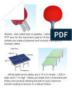 Equipments in Table Tennis
