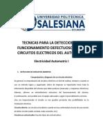 Tecnicas Para La Deteccion Del Funcionamiento Defectuoso de Los Circuitos Electricos Del Automovil-I