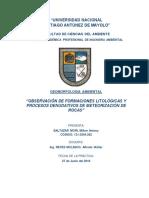 Observación de Formaciones Litológicas y Procesos Denudativos de Meteorización de Rocas