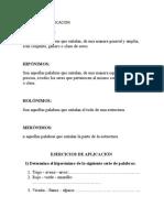 Ejercicios de Alpicacc3adc3b3n Clases de Palabras1