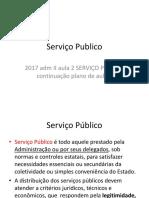 2017 Adm II Aula 2 SERVICO PUBLICO Continuacao Plano de Aula 2