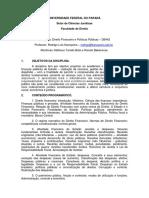 Plano de Ensino - Direito Financeiro e Politicas Publicas