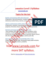 SAT Mathematics Level 1 Syllabus