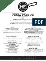 Pizza Parlor Menu