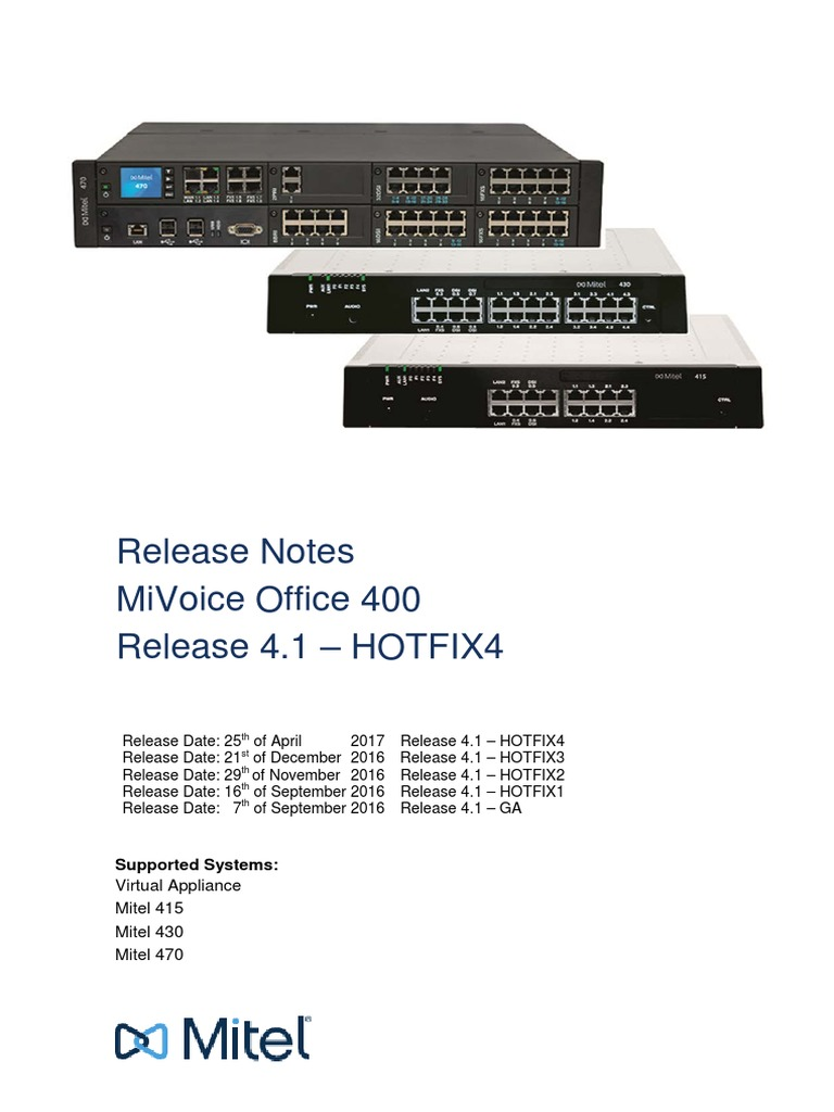 Release Notes MiVoice Office 400 R41-HF4 | Session