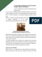 Los Fundadores de La Sociología. Identidad Social de Los Mismos.