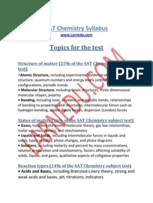 SAT-Chemistry-Syllabus-Larnedu pdf | Stoichiometry