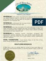 Boca Raton Meatless Monday Proclamation