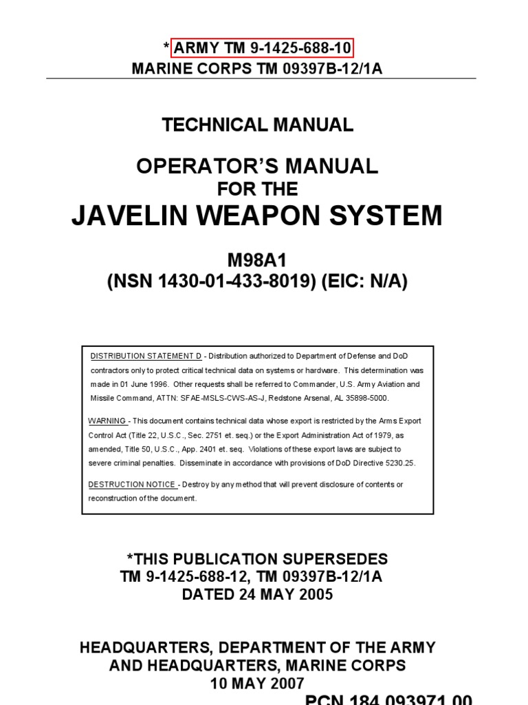 Army Nsn Data Acquisition Systems : Tm m javelin weapon system