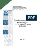 Orientaciones para la presentación y defensa del Trabajo de Grado