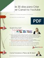 Plano de 30 Dias Para Criar Um Super Canal No Youtube eBook Final