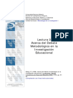 Gibaja, R. (1998).Acerca del Debate Metodológico en la Investigación Educacional