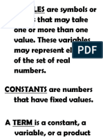 VARIABLES Are Symbols or Letters That May Take One or More Than One Value