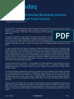 R3 and TradeIX Develop Blockchain Solution for Open Account Trade Finance - Nasdaq - October 2017