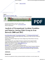 Analysis of Occupational Accident Fatalities and Injuries Among Male Group in Iran Between 2008 and 2012