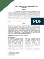 Aplicacion de La Primera Ley de La Termodinamica a La Industria