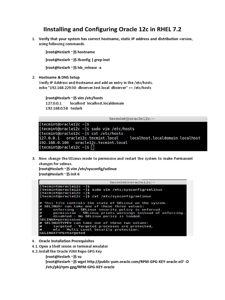 Instalacion Oracle Database 12c Linux en RHEL | Oracle