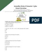 Soal UAS Matematika Kelas 6 Semester 1 Plus Kunci Jawaban OK
