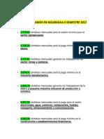 Salarios Minimos en Nicaragua II Semestre 2017