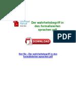 Der Wahrheitsbegriff in Den Formalisierten Sprachen PDF