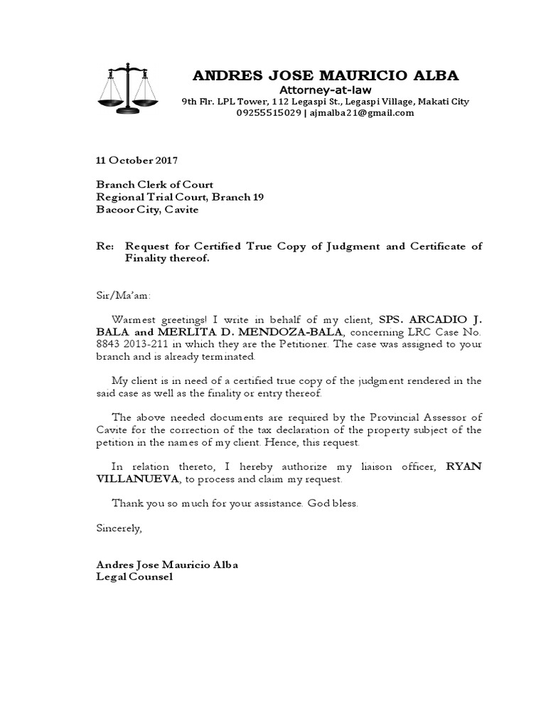 Request Letter - RTC Br. 23 Bacoor Cavite Re TCT No. RT CLOA-23