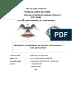 Monografia Sobre La Importancia Del Informe de Auditoria de Gestión en La Toma de Decisiones