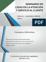 Calidad en el Servicio al Cliente SESIÓN 1