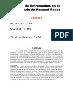 Molinos de Extremadura  (harineros de río, de aceite, de viento...) en el Diccionario Geográfico Estadístico de Pascual Madoz (1845-1850)